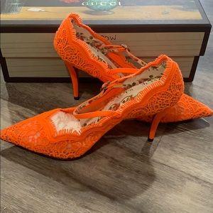 Gucci Lace Orange Pump Size 37